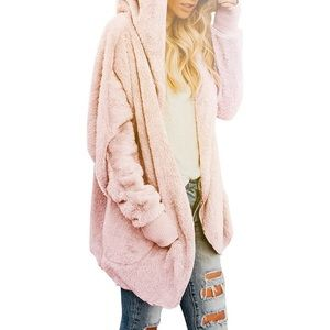 Mauve Pink Fuzzy Sherpa Hooded Cardigan